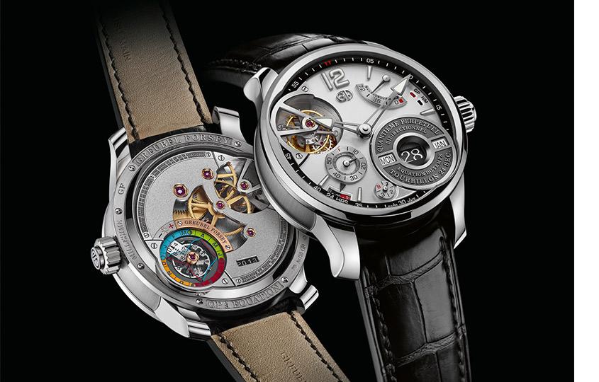 «Часы скалендарем» Greubel Forsey— QPàÉquation    Уникальный «механический компьютер» отвечает заиндикацию икорректировку вечного календаря (нациферблате справа внизу) суравнением времени (наобратной стороне часов). Изобретение потребовало 7лет разработок иполучило три патента. Кроме того, модель оснащена фирменным турбийоном.