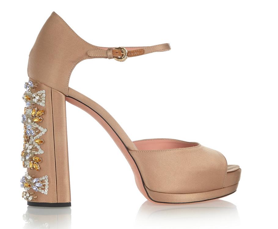 Сатиновые туфли Rochas навысоком каблуке, декорированном кристаллами