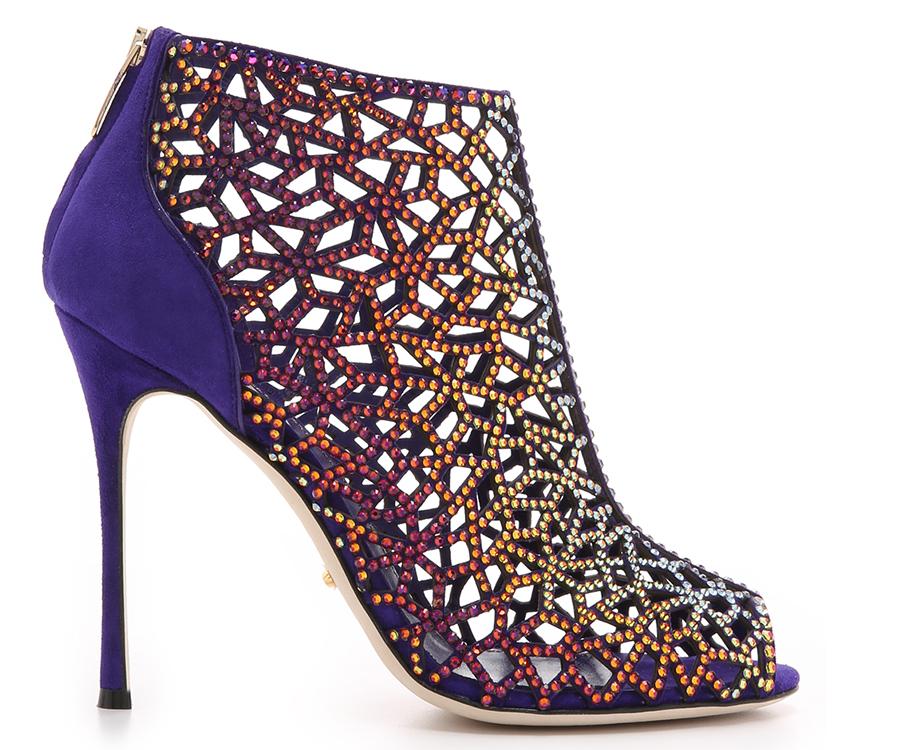 Многоцветные ботильоны Sergio Rossi, расшитые кристаллами