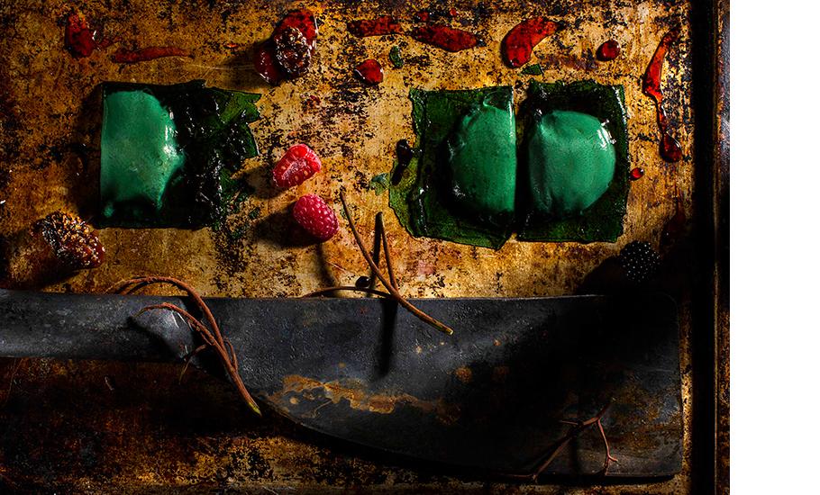 Равиоли с домашним творогом, лесной малиной и хвоей, Шеф-кондитер Виктор Аверков