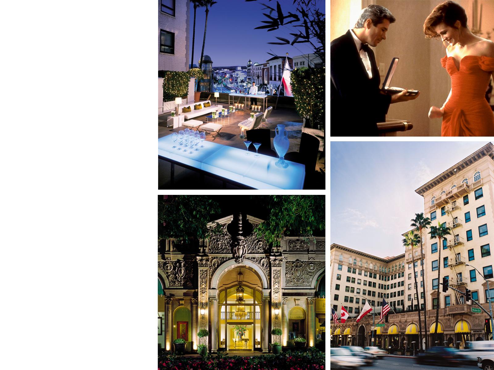 Beverly Wilshire, Лос-Анджелес: u00abКрасоткаu00bb, режиссер Гэрри МаршаллЗдесь героиня Джулии Робертс заявила богатенькому Гиру, что ей нужна настоящая сказка, здесь же она нервировала гостей безумными нарядами и наглым поведением в лифте. Хотя если быть честными, для съемок был использован только фасад пятизвездочного отеля, интерьерные сцены снимались в павильонах.