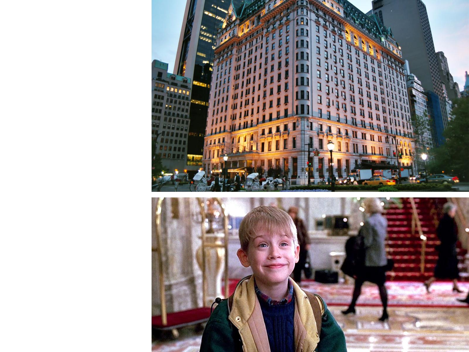Plaza Hotel, Нью-Йорк: u00abОдин дома-2u00bb, режиссер Крис КоламбусИменно здесь Кевина МакКалистера снова забыли родители, на этот раз, отправившись в Париж. Правда, и малыш был более подготовлен u2014 на руках у него была кредитка отца.