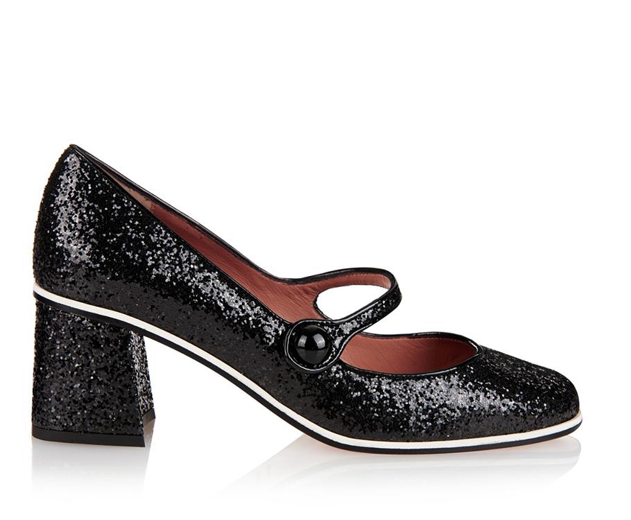Черные сверкающие туфли RED Valentino, выполненные встиле «Мэри Джейн»