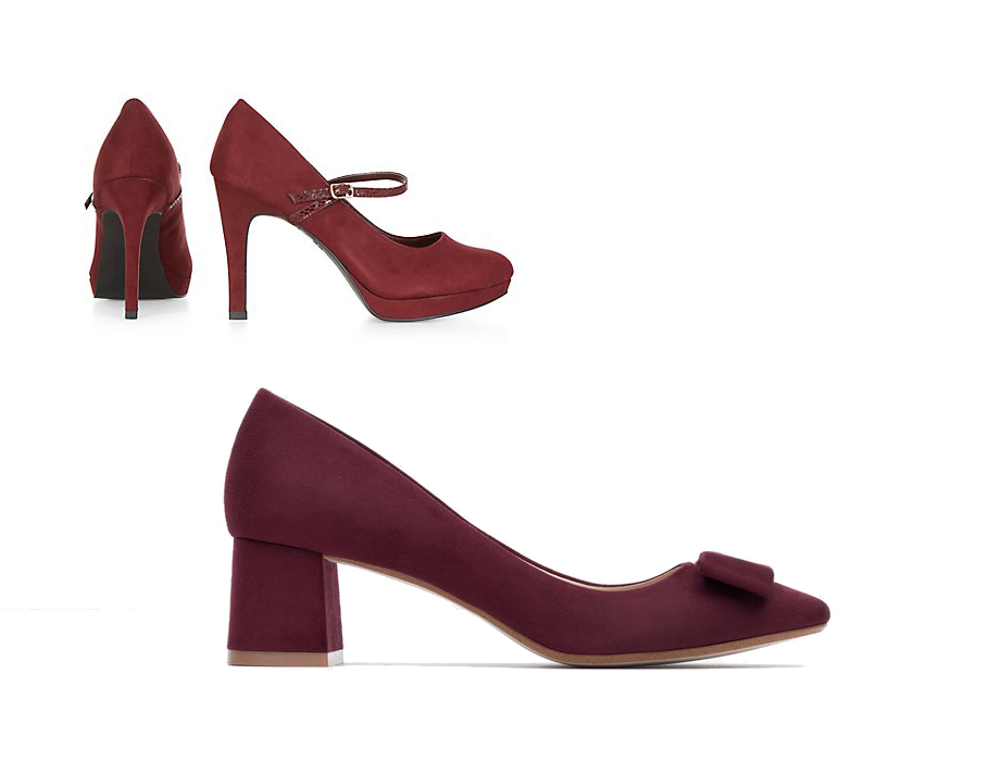 Туфли наустойчивом каблуке винного цвета Zara итуфли винного цвета New Look встиле Mary Jane
