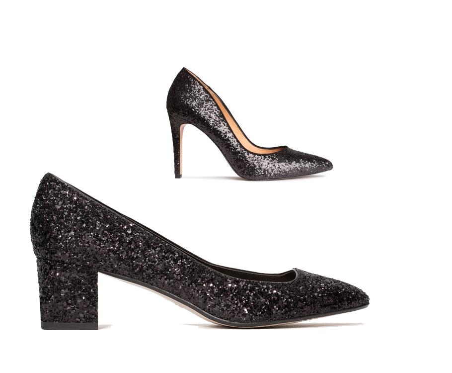 Черные туфли нашпильке H&M итуфли нанизком устойчивом каблуке Zara