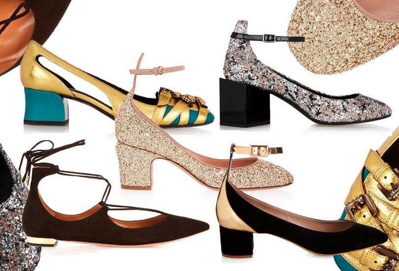 Замшевые балетки сошнуровкой Aquazzura; контрастные туфли наустойчивом каблуке Chloé; золотистые туфли «Мэри Джейн» наустойчивом каблуке Valentino; двухцветные туфли наустойчивом каблуке Bottega Veneta; нестандартные туфли Pierre Hardy
