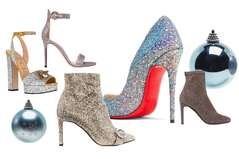 Обувь сблестящим напылением: Gucci, Gianvito Rossi, Jimmy Choo, Christian Louboutin, Giuseppe Zanotti Design