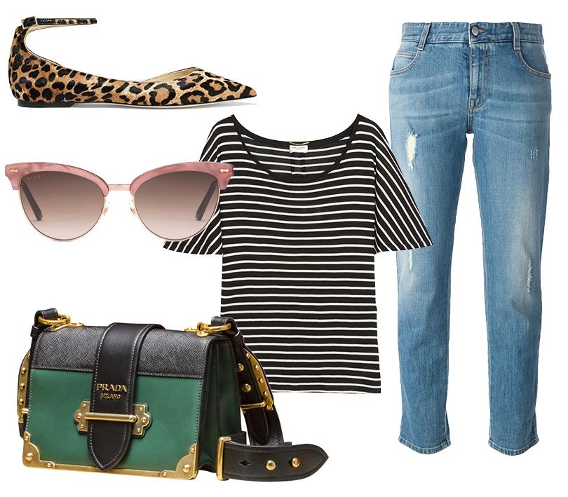 Сумка Prada Cahier, укороченные прямые джинсы Stella McCartney, топ Saint Laurent, балетки Jimmy Choo, солнцезащитные очки Gucci