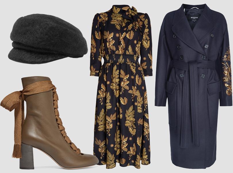 Кепи, Eugenia Kim; платье, Akhmadullina Dreams; пальто, Rochas; ботильоны, Chloé