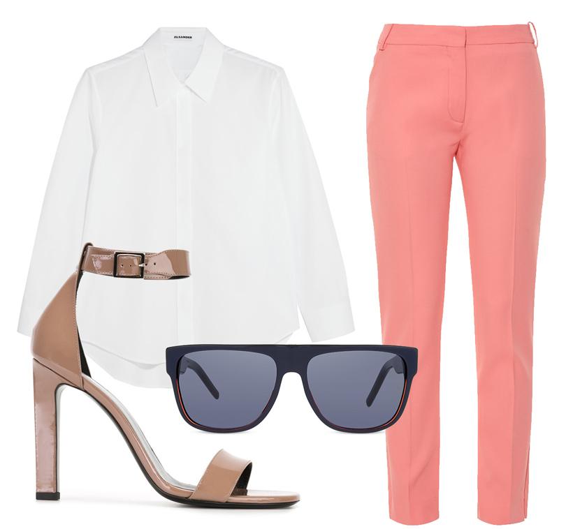 Прямые брюки Altuzarra, белая рубашка Jil Sander, босоножки Saint Laurent, солнцезащитные очки Dior.