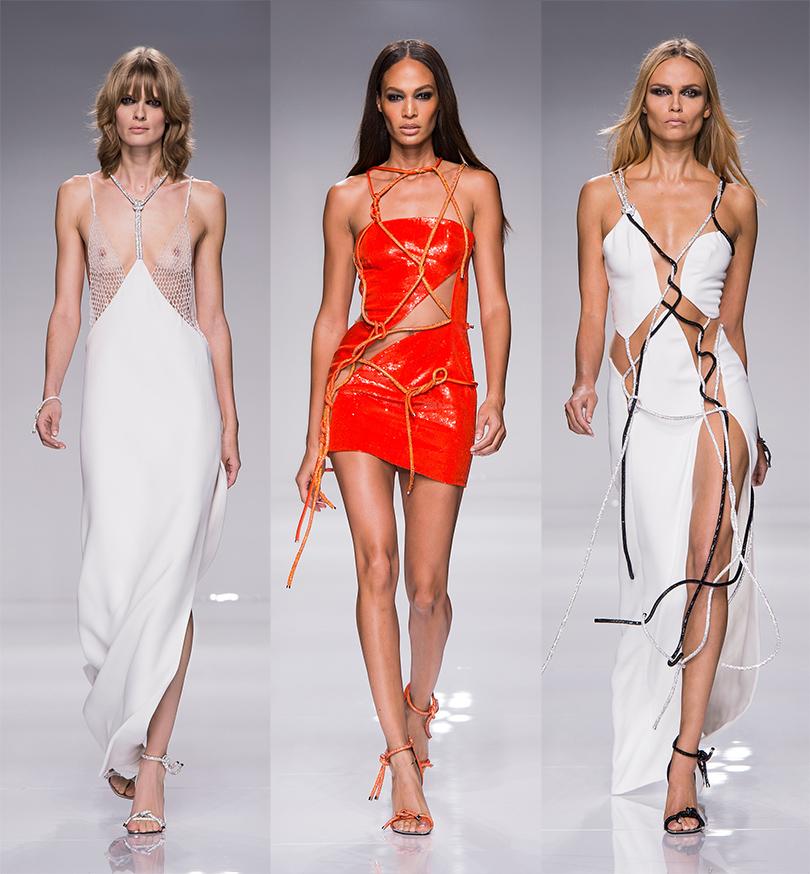 Джоан Смоллс (в центре), Наташа Поли. Неделя Haute Couture — из Парижа из первых уст: показ Atelier Versace