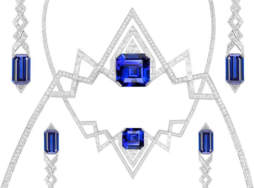 Линия High Jewellery Lady Stardust Couture, белое золото сбриллиантами итанзанитами, единственный экземпляр. Этот уникальный сет останется вмосковском ЦУМе.