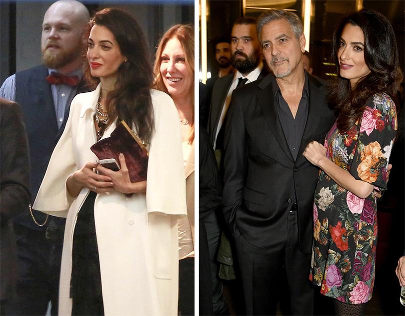 Posta Kids Club: звезды —  «дважды родители». Амаль Клуни скрывает округлившийся живот засвободными фасонами