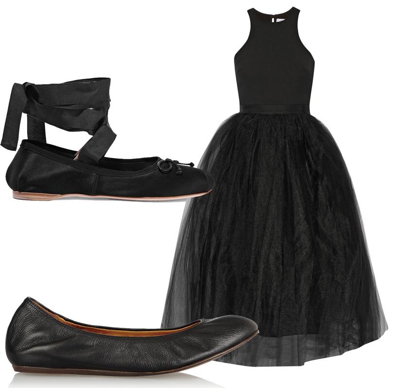Сатиновые балетки навысокой шнуровке Miu Miu, платье спышной тюлевой юбкой Elizabeth and James, мягкие балетки Lanvin.