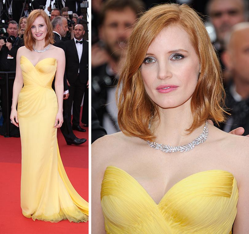 Cannes 2016: самые яркие звездные образы на церемонии открытия кинофестиваля. Джессика Честейн вArmani Privé иукрашениях Piaget