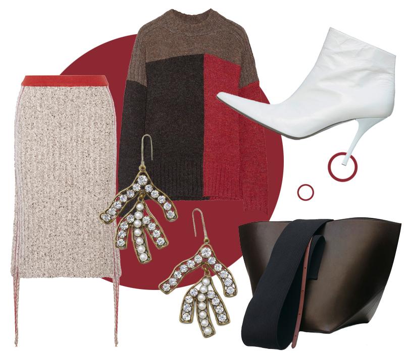 Ботильоны, сумка исерьги сискусственным жемчугом Céline, юбка изкашемира The Row, свитер Etoile Isabel Marant