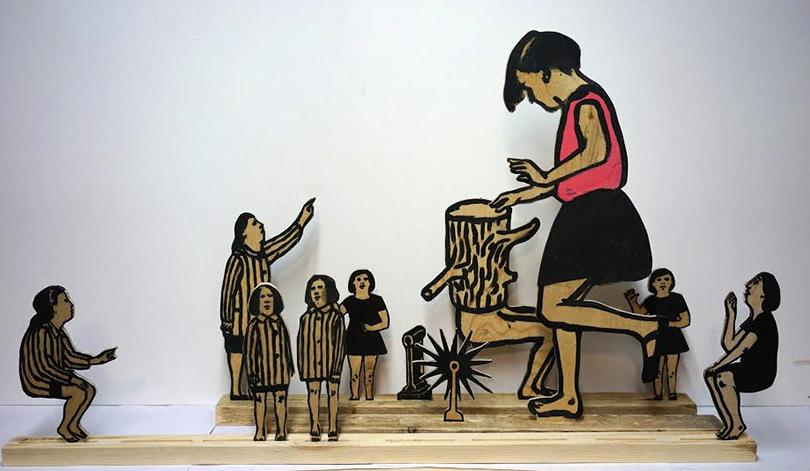 Выставка современного русского искусства Drawing: No Limits в Берлине:  «Чудо Роста», Шишкин-Хокусай. Фанера, акрил, 11 элементов, 60х35, 2016г.