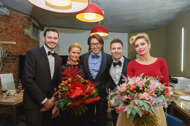 Наталья Шкулева, Андрей Малахов, Антонио Алицци (Calzedonia Russia) и Вера Брежнева