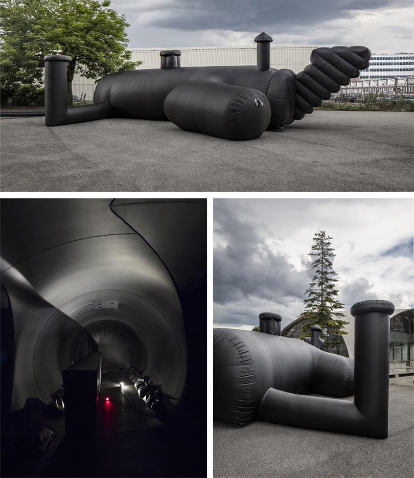 Швейцарская архитектурная студия Bureau Aпредставила надувной ночной клуб вдраматичном черном цвете: Shelter