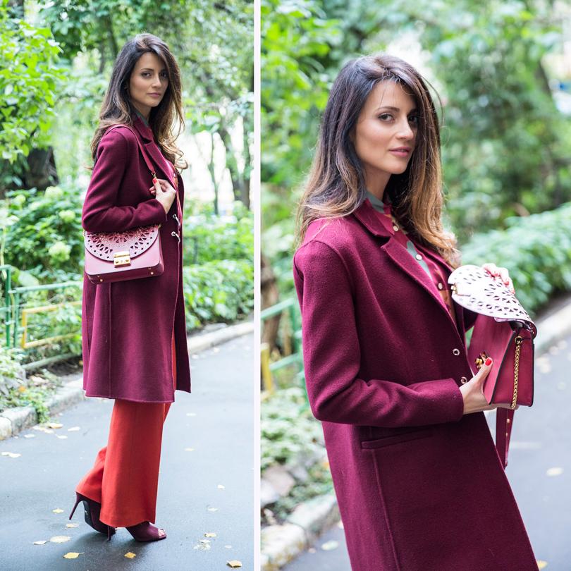 НаМарине: шелковая блузка RED Valentino, легкое пальто изкашемира Pinko, брюки изджерси Marc Cain, замшевые туфли Ballin, кожаная сумка сперфорацией Furla
