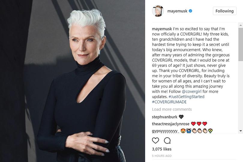 69-летняя мать Илона Маска стала лицом CoverGirl