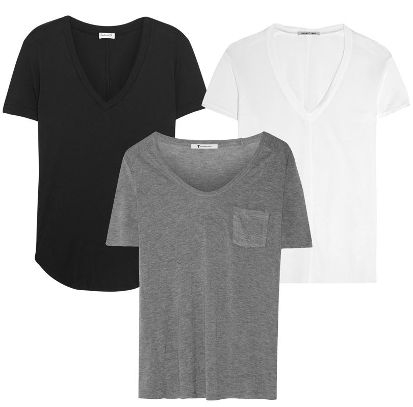 Trend Alert: модный минимализм. Новый подход к созданию базового гардероба. Черная футболка Splendid, серая футболкаT byAlexander Wang, белая футболка Helmut Lang
