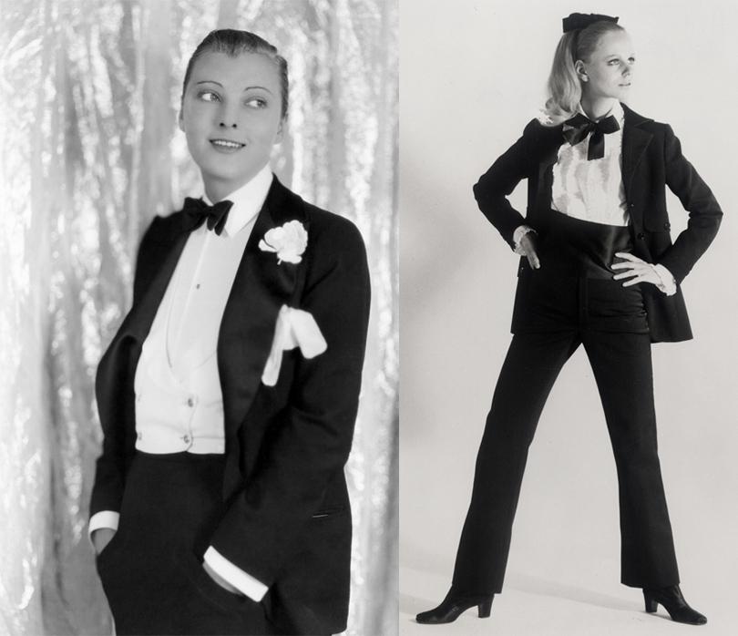 Star Look. Звездный тренд: смокинги и вечерние жакеты. Дороти Макейл, 1927г., Yves Saint Laurent, 1966г.