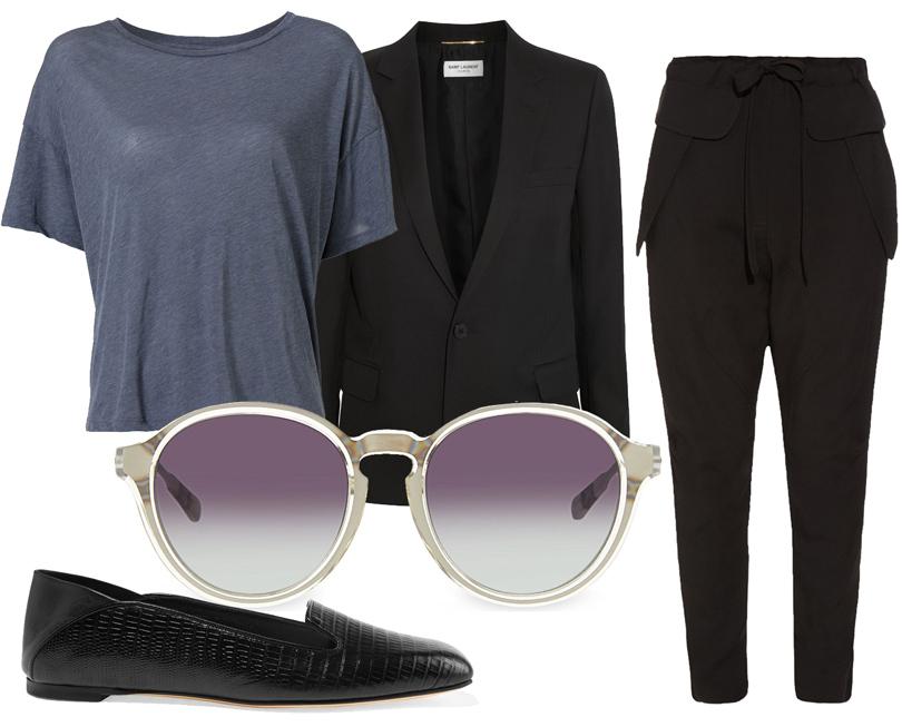 Брюки Chloé, укороченный топ изджерси Splendid, классический черный блейзер Saint Laurent, лоферы Alexander McQueen, солнцезащитные очки Kris Van Assche.
