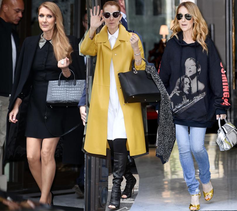 Селин Дион в Saint Laurent, в пальто Jil Sander и сапогах Gianvito Rossi, в худи Vetements и джинсах Saint Laurent