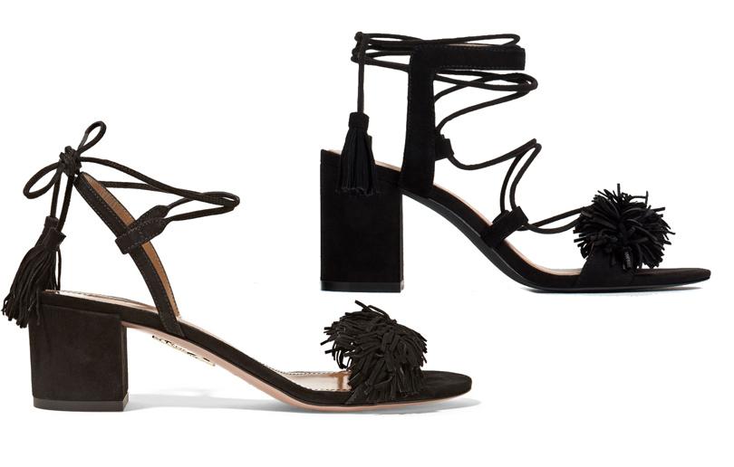 Мода и бизнес: найти десять отличий. Как масс-маркет «вдохновляется» люксовым сегментом. Черные замшевые босоножки Aquazurra сдекоративной кистью ипомпономVS черные замшевые босоножки Zara сдекоративной кистью ипомпоном