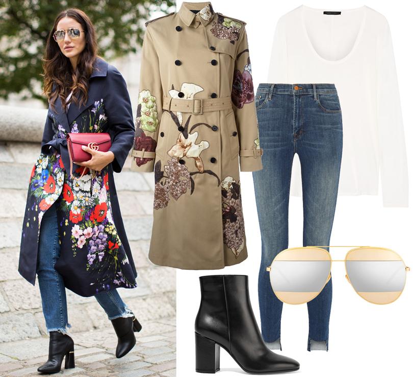 Trend Alert: три способа носить пальто-тренч этой осенью. Тренч Valentino, ботильоны Gianvito Rossi, джинсы JBrand, топ The Row, солнцезащитные очки Dior