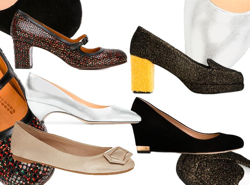 Туфли наустойчивом каблуке Chie Mihara; туфли нанебольшой платформе Tory Burch; туфли изметаллизированной кожи нанизком каблуке Liudmila; золотистые балетки Nine West соднотонной декоративной пряжкой; туфли наустойчивом каблуке сглиттером имеховой вставкой Amélie Pichard