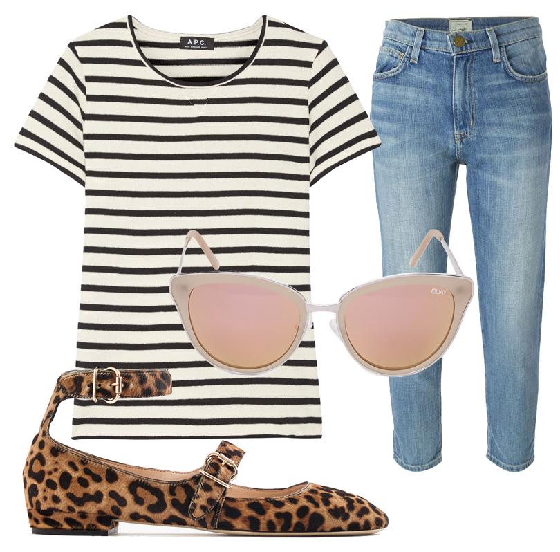 Укороченные прямые джинсы Current/Elliott, топ A.P.C., балетки J.Crew, солнцезащитные очки Quay