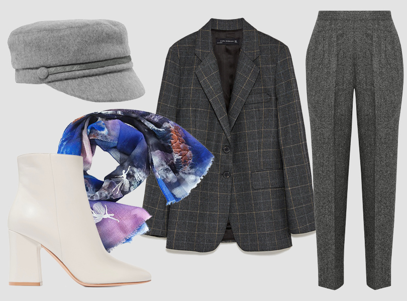 Кепи, Eugenia Kim; брюки, Maison Margiela; блейзер, Zara; ботильоны, Gianvito Rossi; платок, Radical Chic (DressOne)