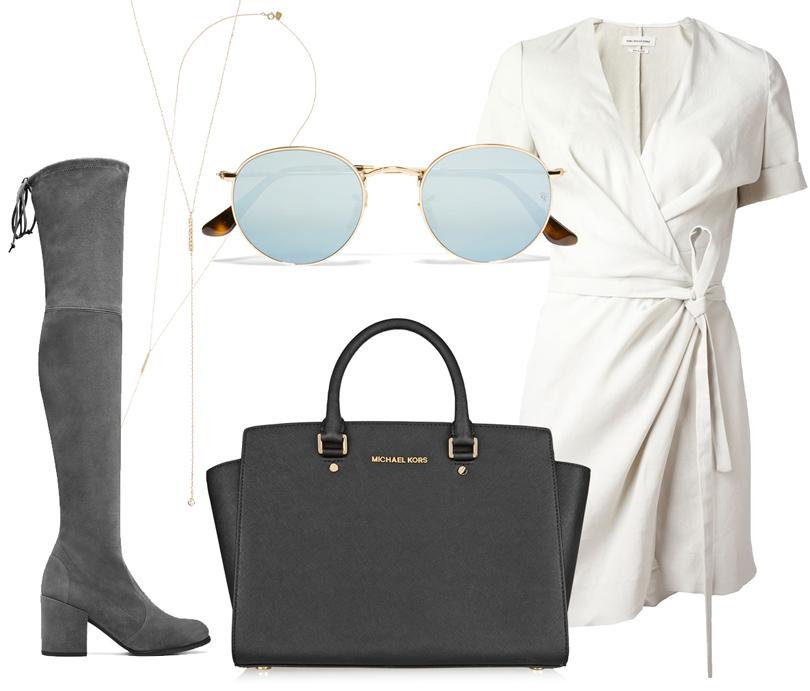 Платье сзапахом Isabel Marant Étoile, замшевые ботфорты Stuart Weitzman, колье ввиде тонкой цепочки Scosha, сумка Michael Michael Kors, солнцезащитные очки Ray-Ban.