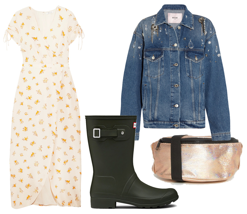 Платье Madewell, джинсовая куртка MSGM, резиновые сапоги Hunter Boots, сумка Asos