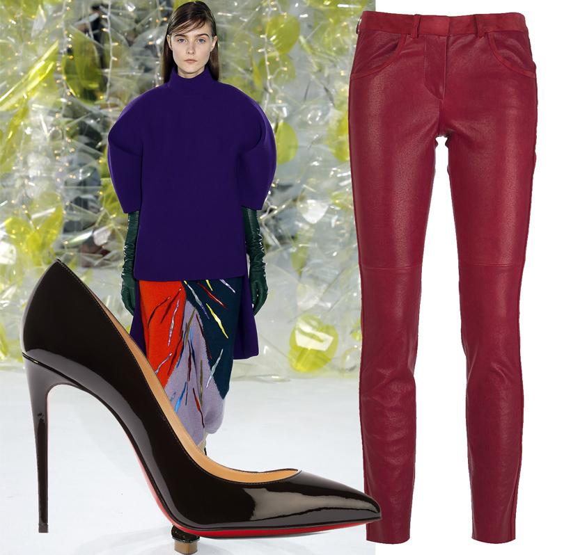 Джемпер Delpozo, кожаные брюки Isabel Marant, туфли излакированной кожи Christian Louboutin