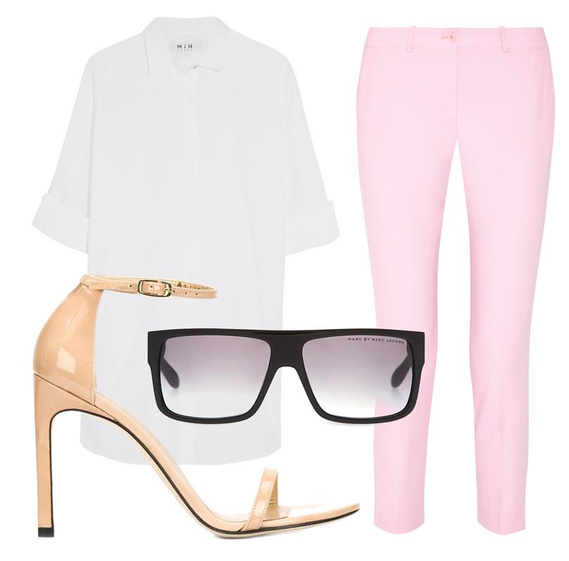 Прямые брюки Michael Kors Collection, белая рубашка M.I.H Jeans, босоножки Stuart Weitzman, солнцезащитные очки Marc Jacobs.