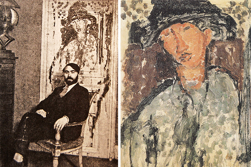 Леопольд Зборовский нафоне двери, накоторой написан портрет Сутина кисти Модильяни