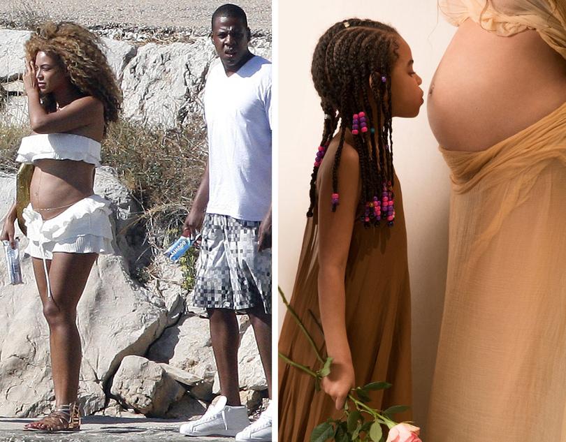 Posta Kids Club: звезды —  «дважды родители». Бейонсе впервую беременность (слева) ивовторую