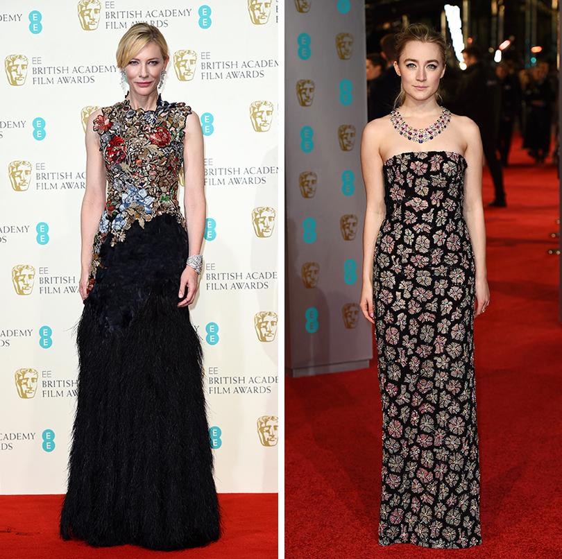 Церемония вручения премий BAFTA 2016 в Лондоне: Кейт Бланшетт (платье Alexander McQueen, украшения Tiffany & Co). Сирша Ронан (платье Burberry, украшения Chopard)