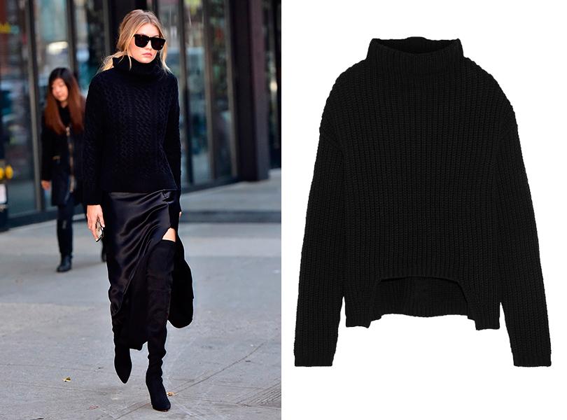 Составляем базовый зимний гардероб на примере звездных образов: свитер крупной вязки в базовом цвете. Джиджи Хамид; объемный свитер Rick Owens