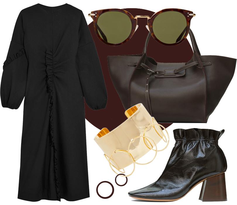 Ботильоны, сумка, солнечные очки Céline, платье Tibi, браслет Arme DeL'Amour