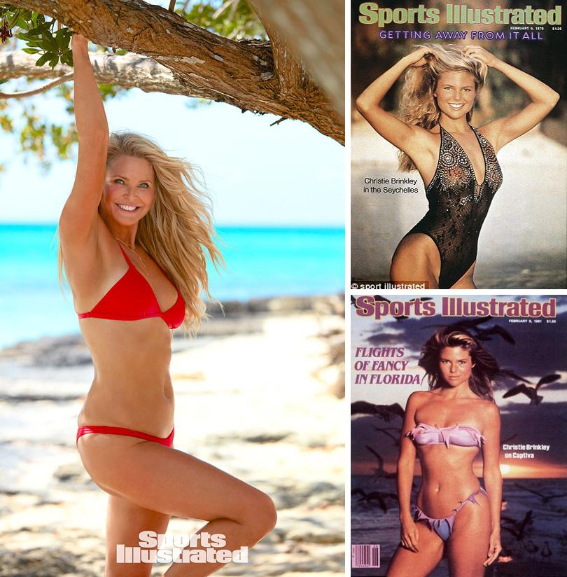 Total Beauty: 63-летняя Кристи Бринкли в Sports Illustrated и другие модели «50+». Кристи Бринкли в63года (слева) ив25лет— напервых обложках Sports Illustrated