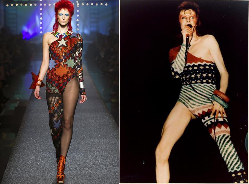 Модель в образе Зигги Стардаста на показе весенне-летней коллекции Jean Paul Gaultier и Дэвид Боуи в образе Зигги Стардаста
