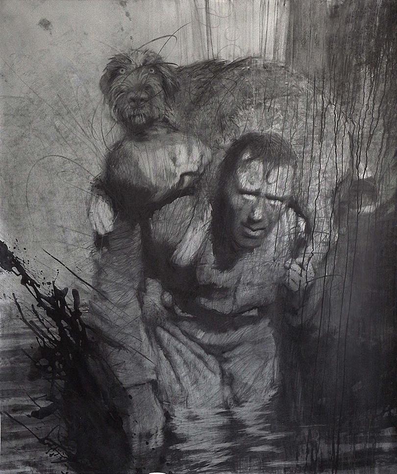 Выставка современного русского искусства Drawing: No Limits в Берлине:  Из проекта «Железо», Кирилл Челушкин. Холст, графит, цветные грунты, 160х190, 2014г.