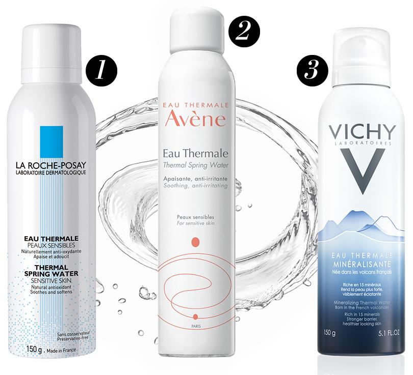 1. Термальная вода LaRoche-Posay для чувствительной кожи; 2. Термальная вода Avene; 3. Минерализированная термальная вода Vichy
