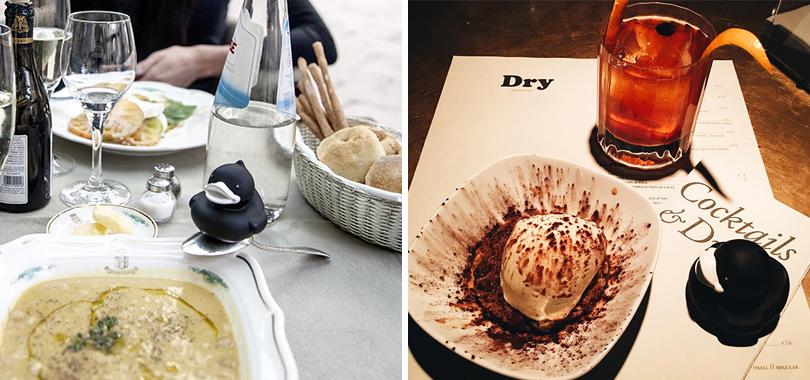 Instagram недели: Модная уточка Pierre Le Duck (@Pierreleduck). Пьер отдыхает от показов в DRY Bar; Пьер обедает в миланском ресторане Caruso