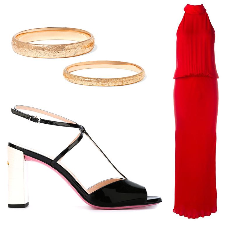 Макси-платье свысоким воротом Nili Lotan, босоножки Fendi, браслеты Fred Leighton