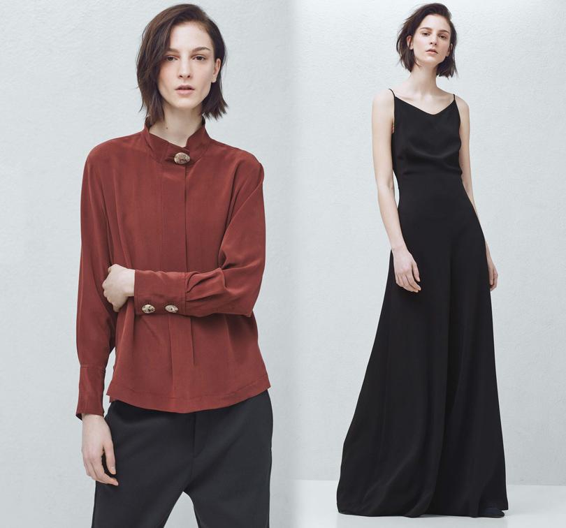 Luxe for less: От «массы» к «классу». Массовые марки в премиум-сегменте. Дождевик (€230), кожаные брюки-клеш (€180), кожаная юбка-трапеция (€120), комбинезон (€100) и шелковая блузка (€60). Все Mango Premium.